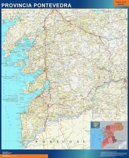 Mapa Provincia Pontevedra plastificado gigante