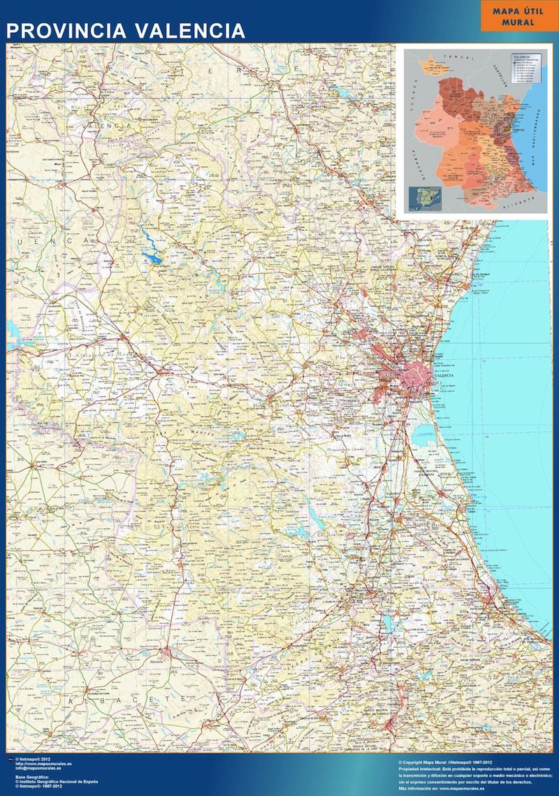 Mapa Provincia Valencia plastificado gigante