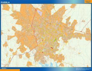Mapa Puebla en Mexico plastificado gigante
