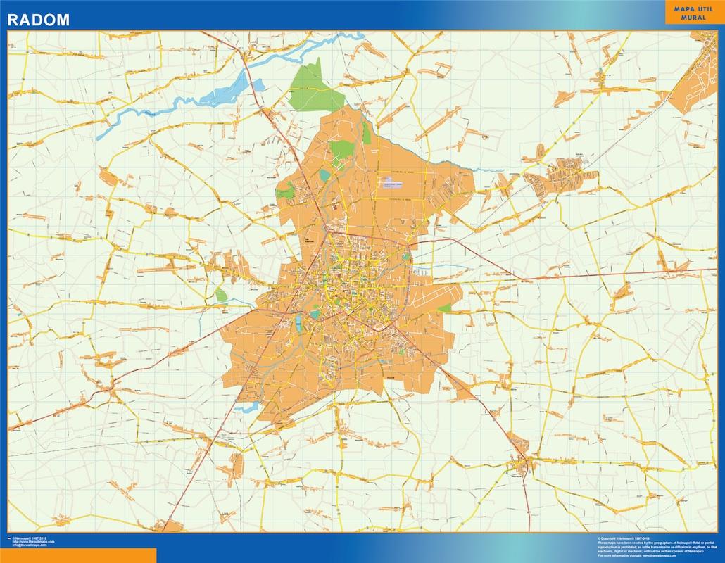 Mapa Radom Polonia plastificado gigante