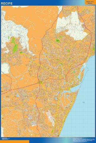 Mapa Recife Brasil plastificado gigante