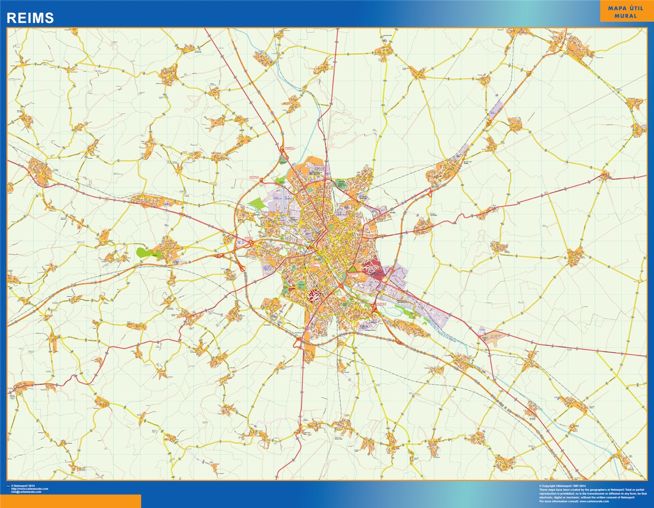 Mapa Reims en Francia plastificado gigante