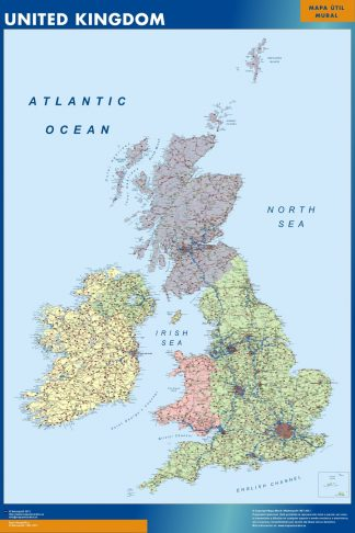 Mapa Reino Unido plastificado gigante