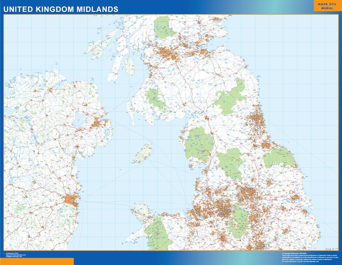 Mapa Reino Unido Midlands carreteras plastificado gigante