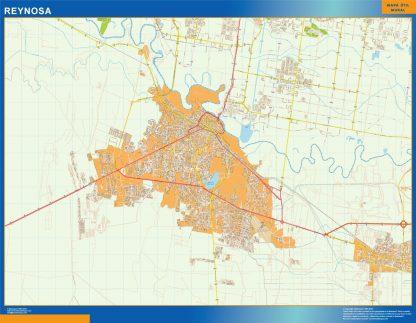 Mapa Reynosa en Mexico plastificado gigante