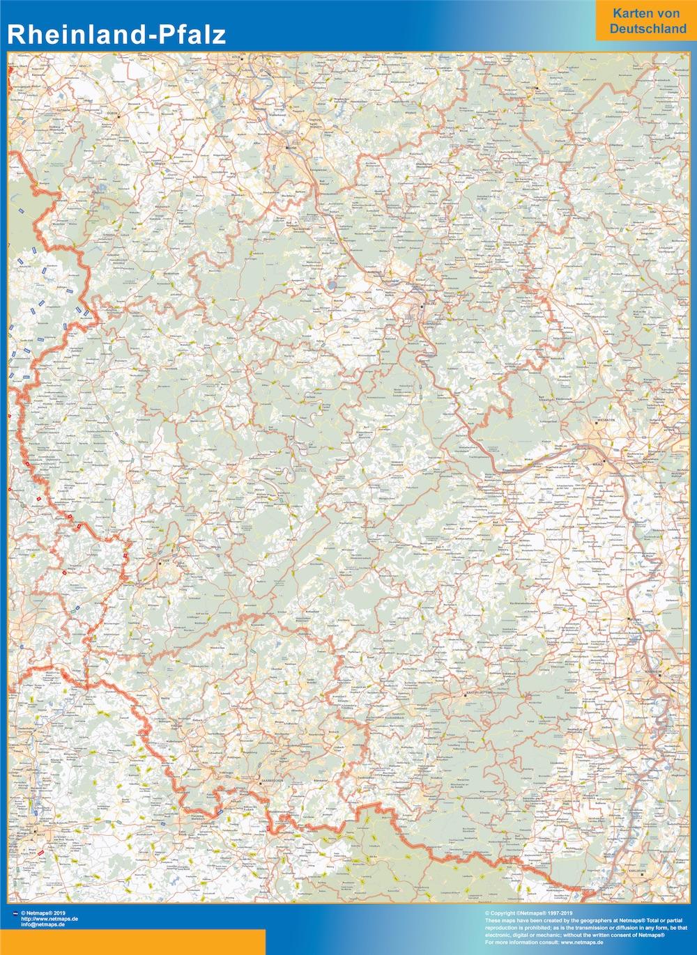 Mapa Rheinland-Pfalz plastificado gigante