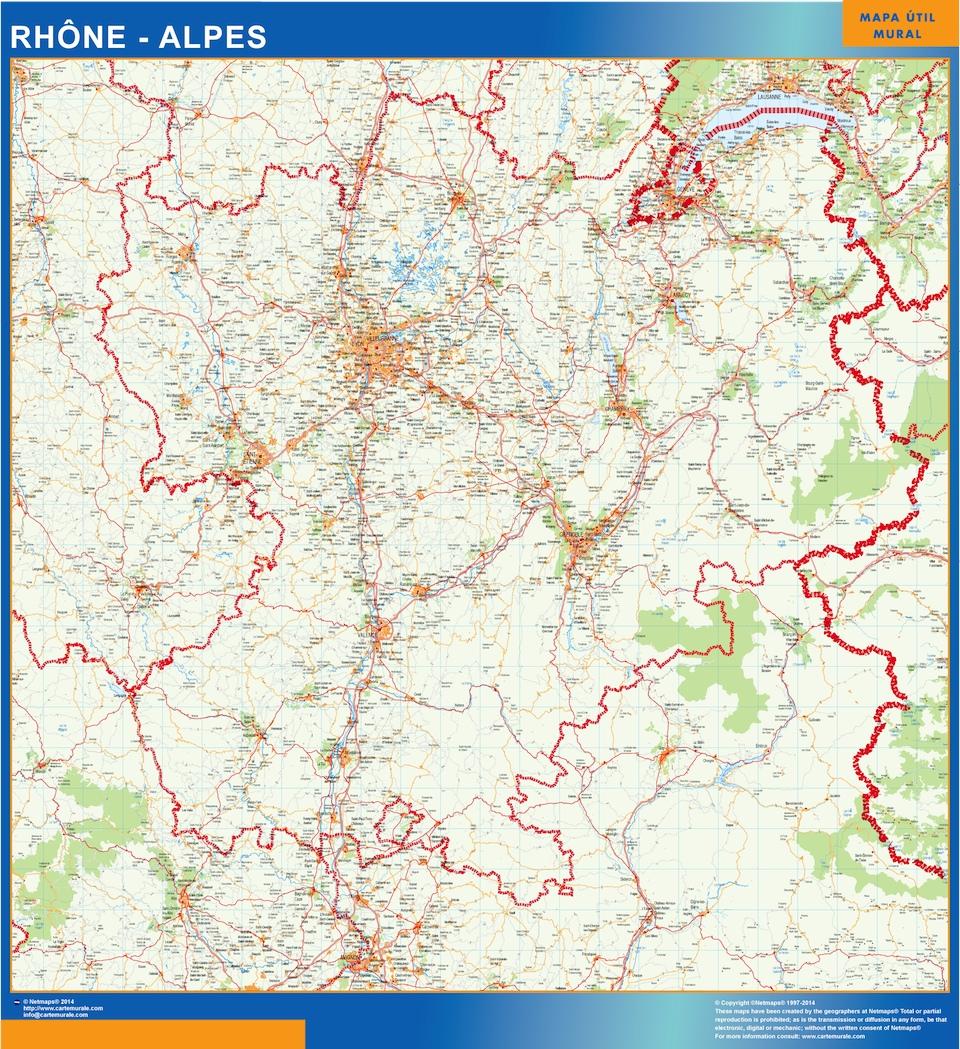 Mapa Rhone Alpes en Francia plastificado gigante