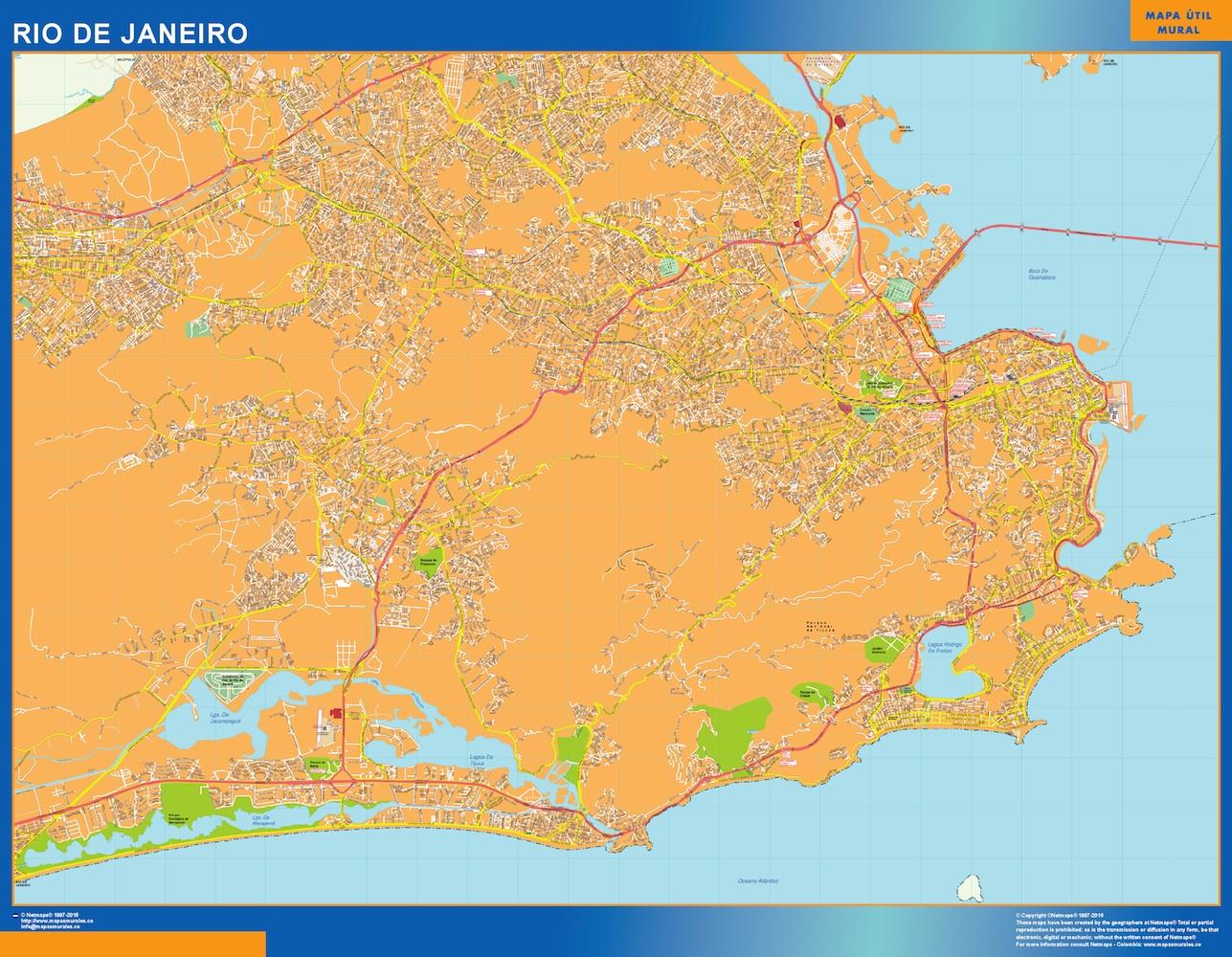 Mapa Rio de Janeiro Brasil plastificado gigante
