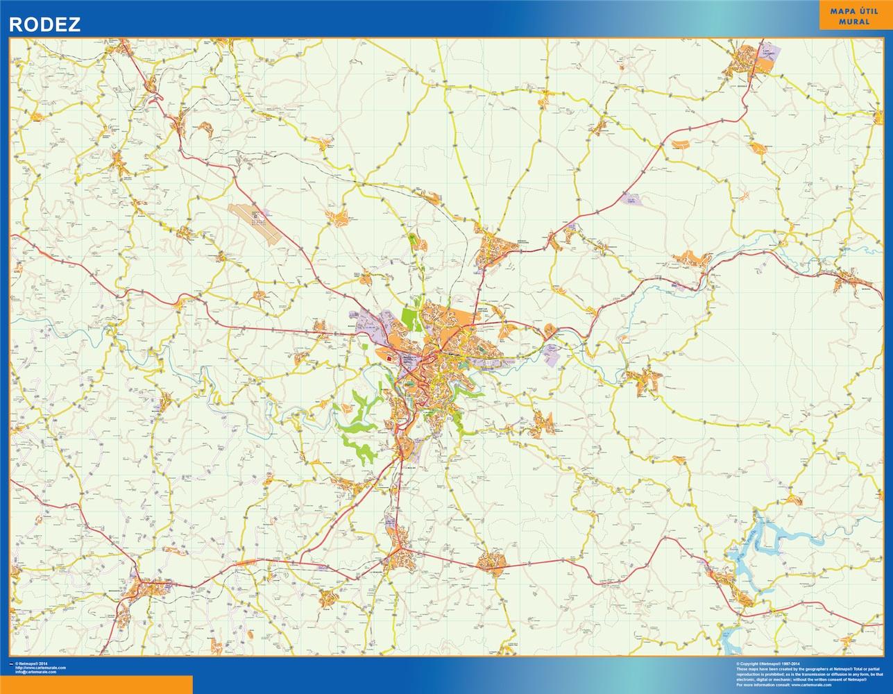 Mapa Rodez en Francia plastificado gigante