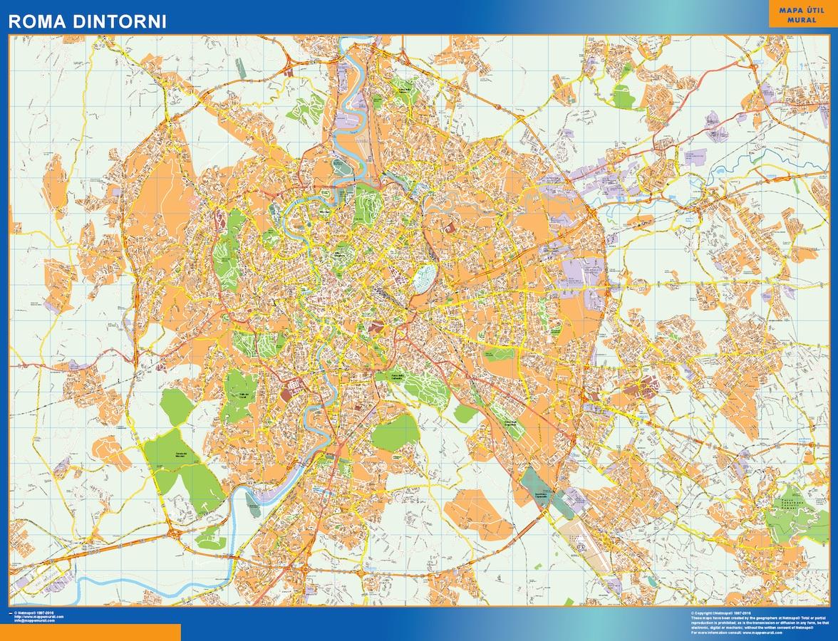 Mapa Roma Dintorni plastificado gigante