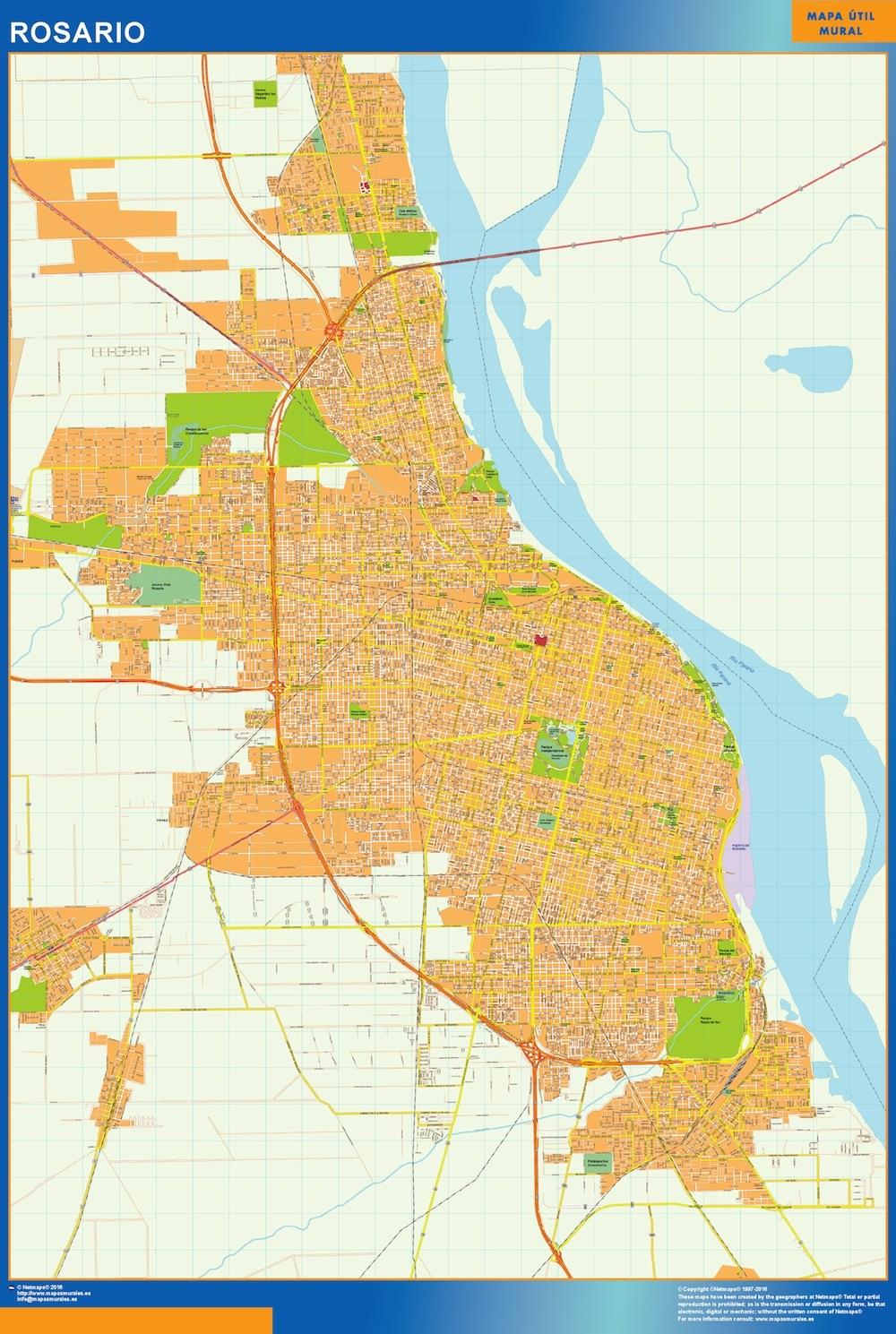 Mapa Rosario en Argentina plastificado gigante