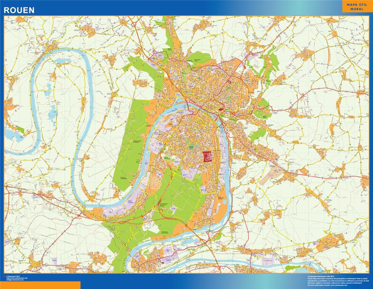 Mapa Rouen en Francia plastificado gigante
