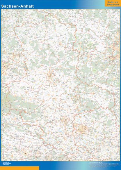 Mapa Sachsen-Anhalt plastificado gigante