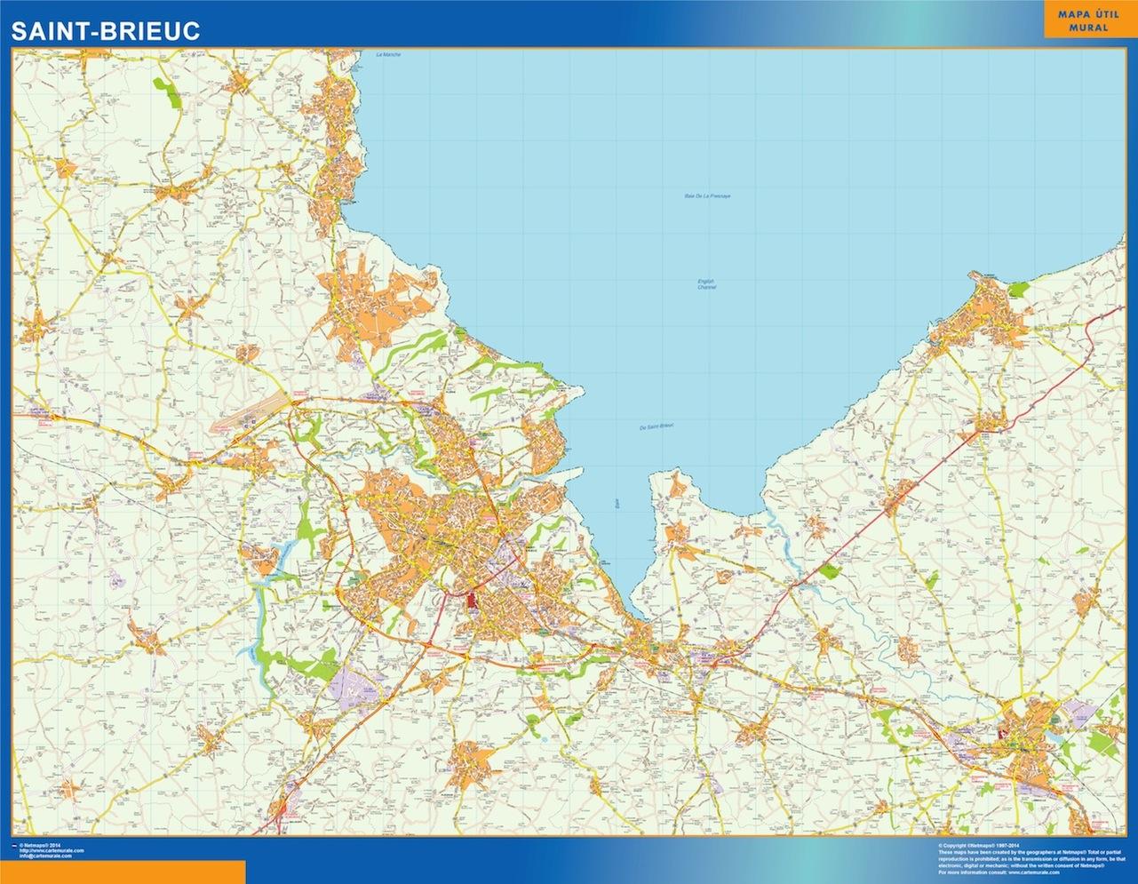 Mapa Saint-brieuc en Francia plastificado gigante