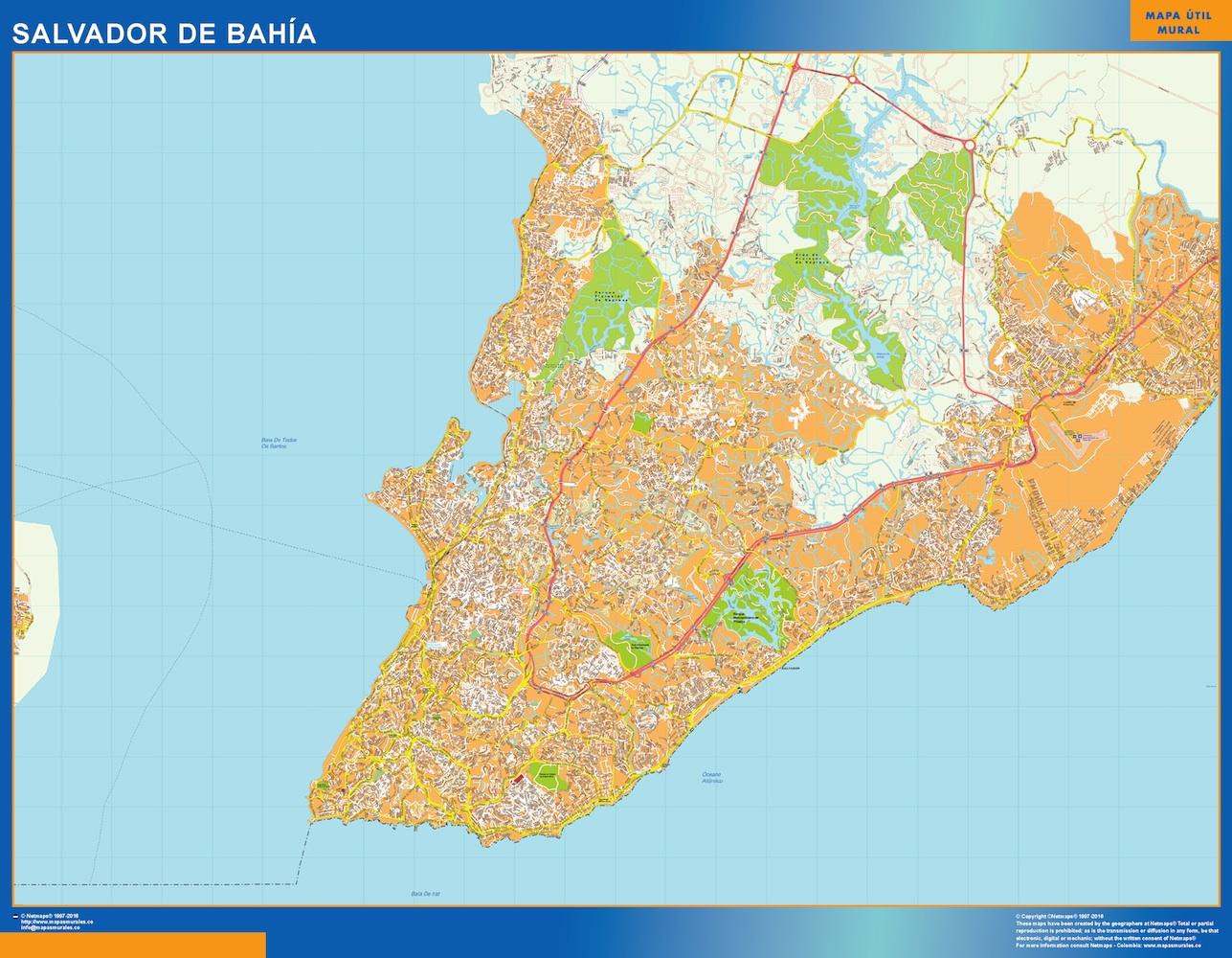 Mapa Salvador Bahia Brasil plastificado gigante