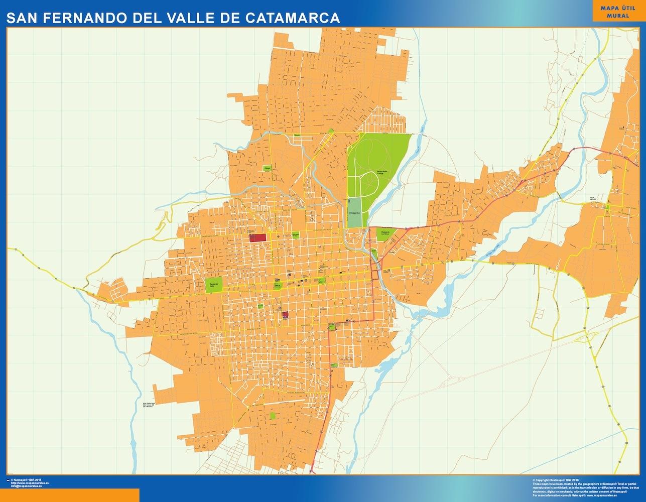 Mapa San Fernando del Valle Catamarca en Argentina plastificado gigante