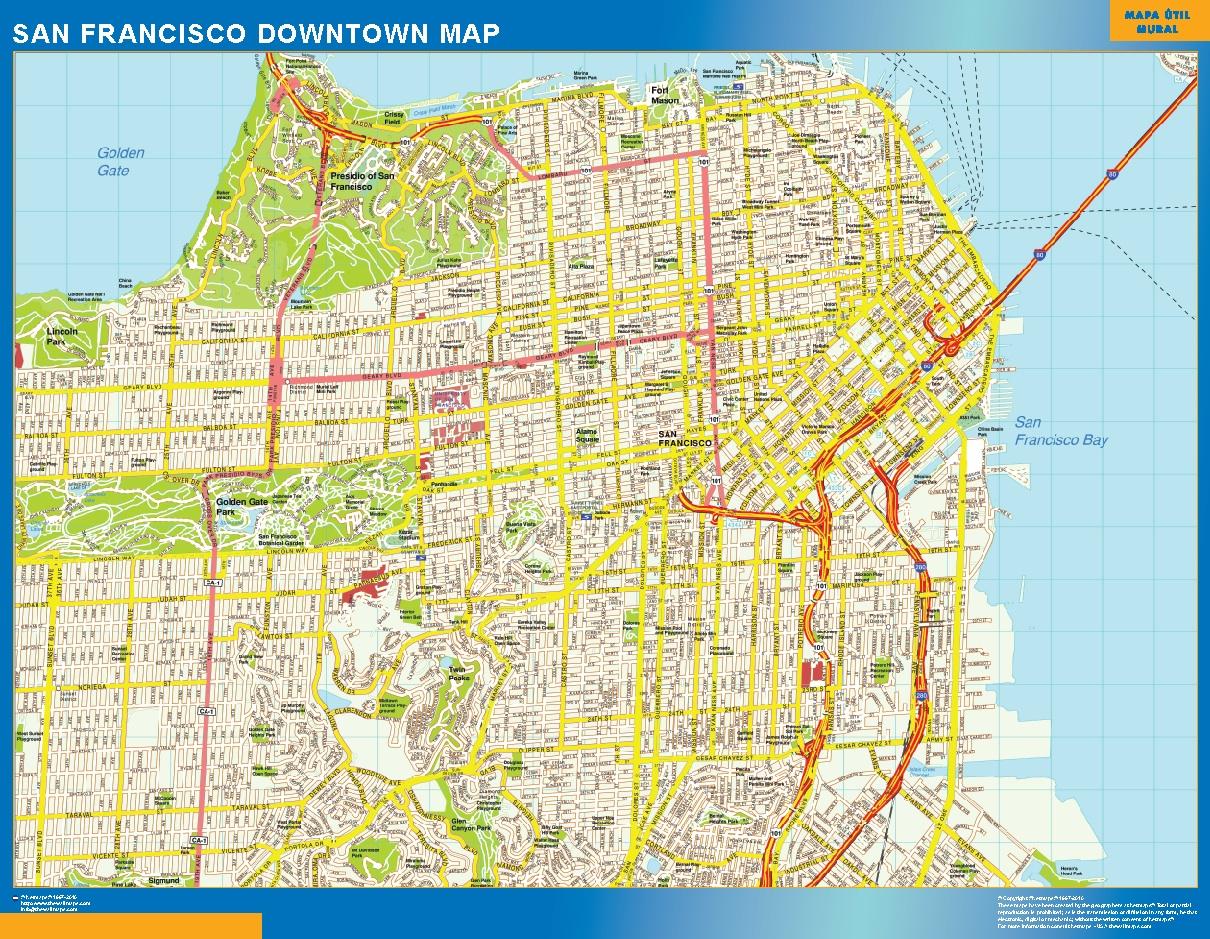 Mapa San Francisco downtown plastificado gigante