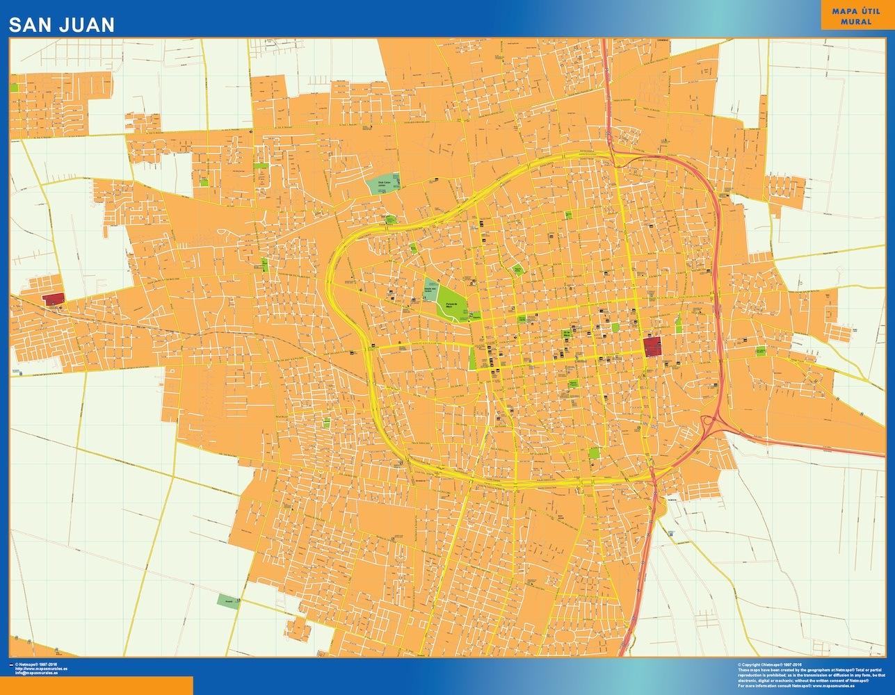 Mapa San Juan en Argentina plastificado gigante