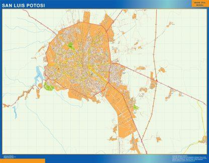 Mapa San Luis Potosi en Mexico plastificado gigante