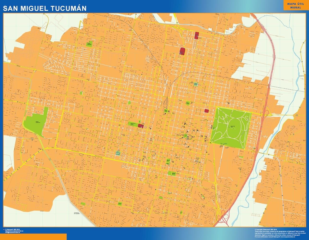 Mapa San Miguel Tucuman en Argentina plastificado gigante