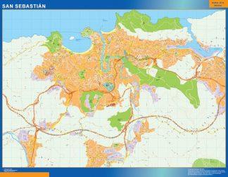 Mapa San Sebastian callejero plastificado gigante