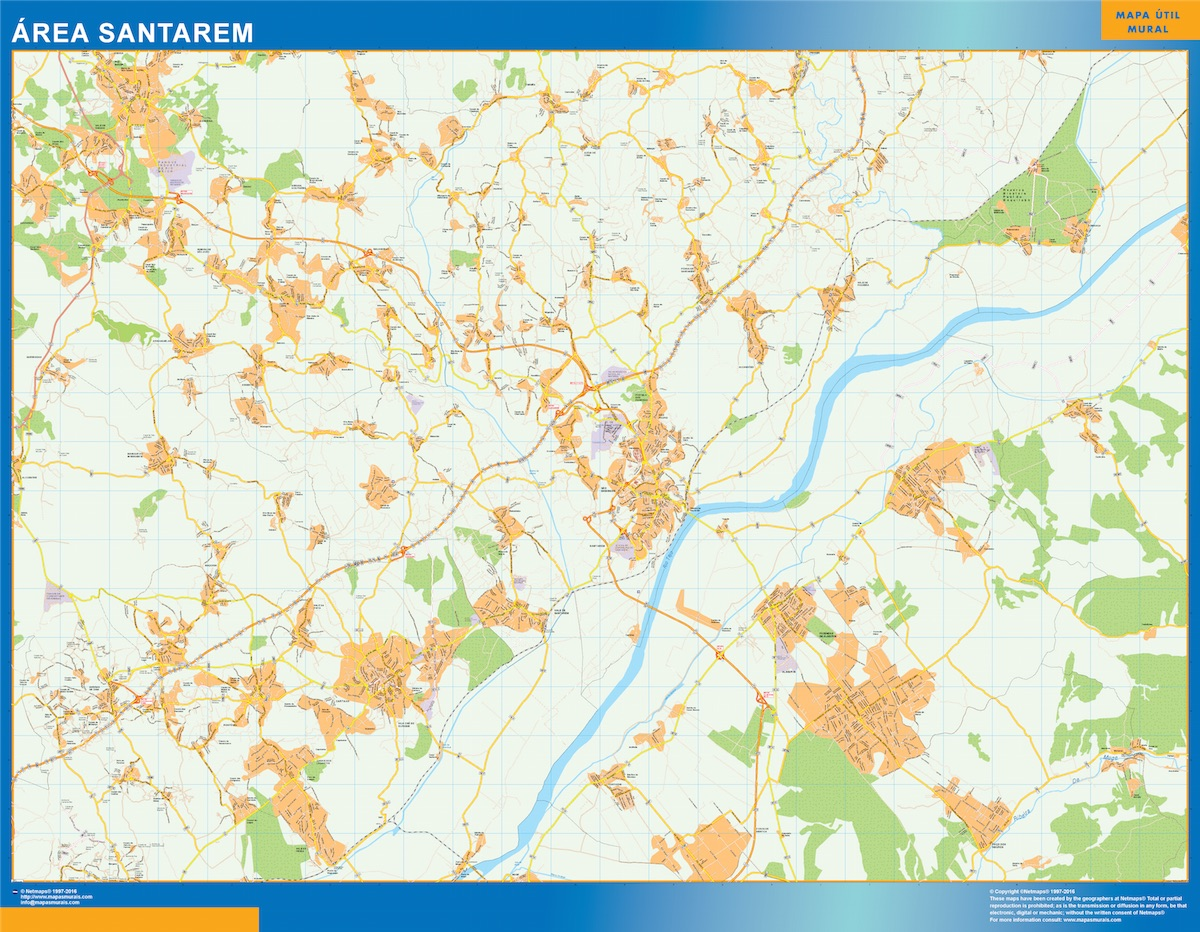 Mapa Santarem área urbana plastificado gigante