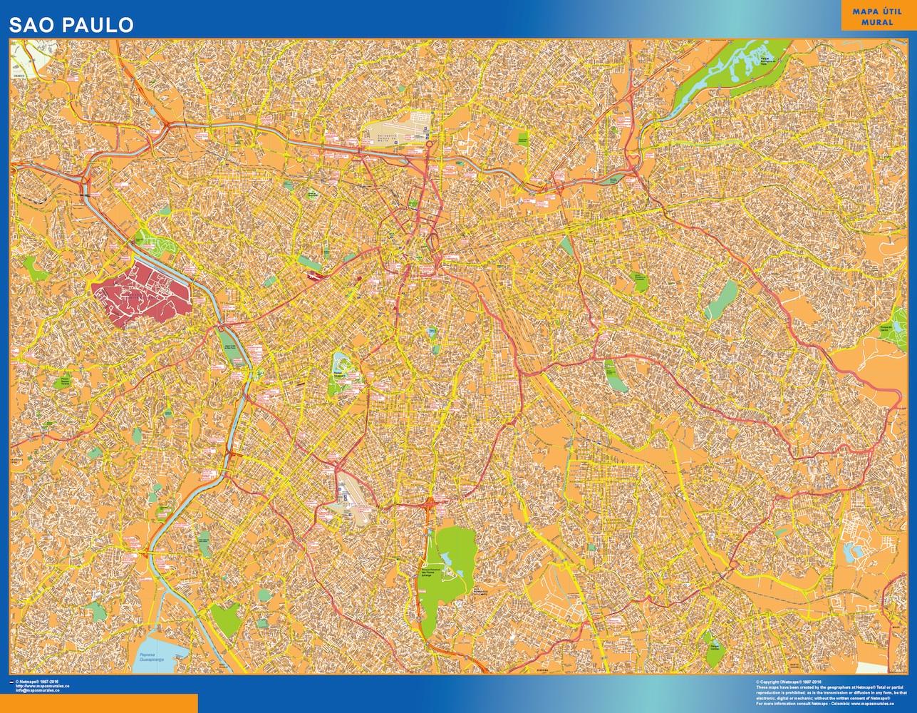 Mapa Sao Paulo Brasil plastificado gigante