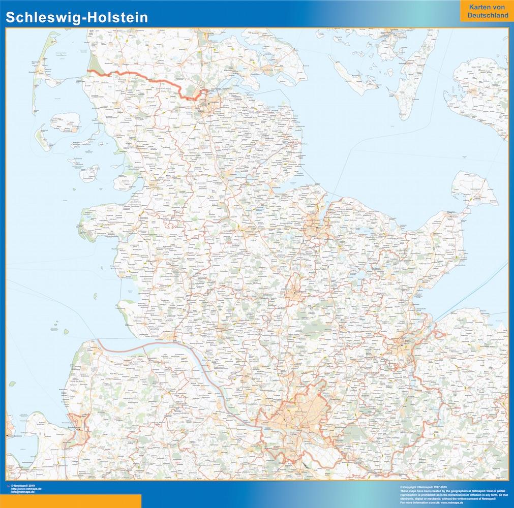 Mapa Schleswig-Holstein plastificado gigante