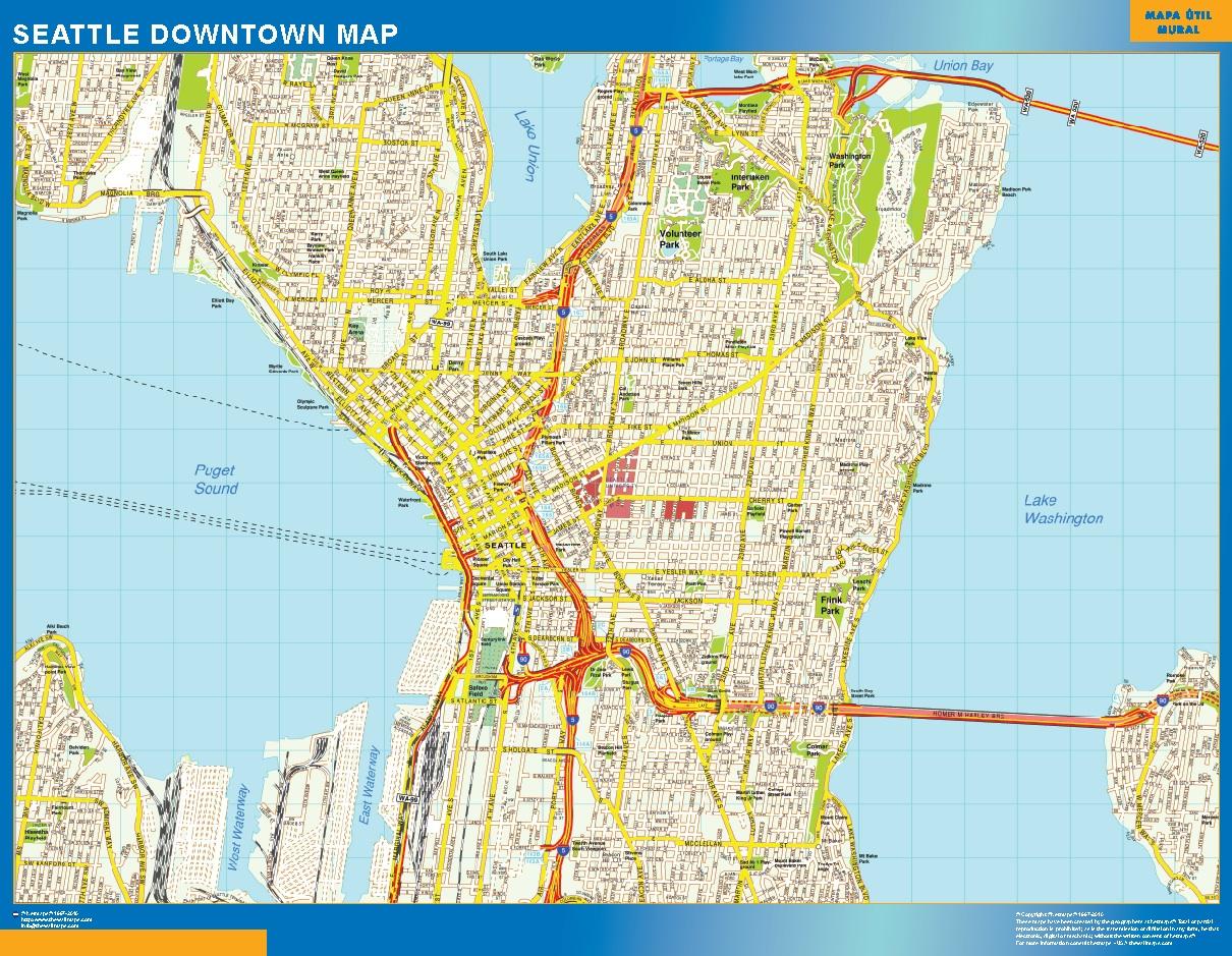 Mapa Seattle downtown plastificado gigante