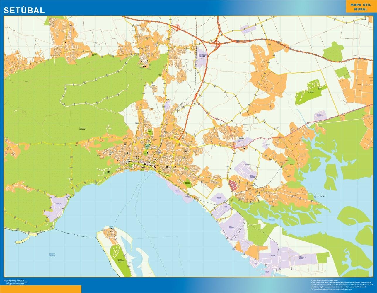 Mapa Setubal en Portugal plastificado gigante