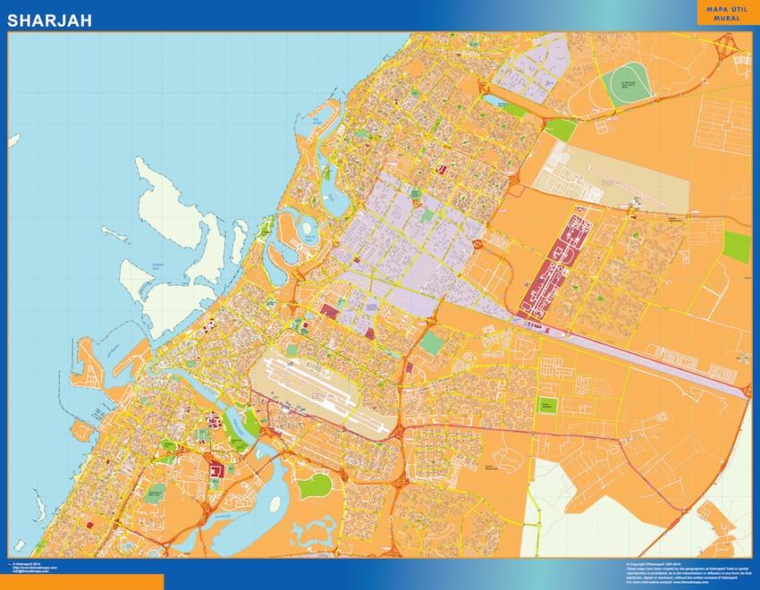 Mapa Sharjah plastificado gigante