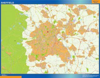 Mapa Sheffield plastificado gigante