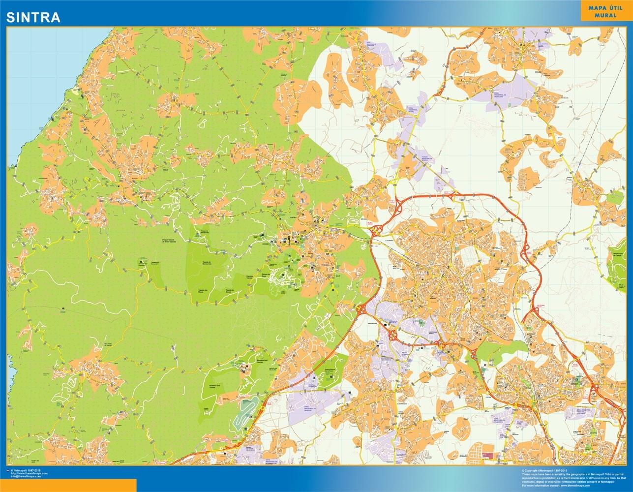 Mapa Sintra en Portugal plastificado gigante