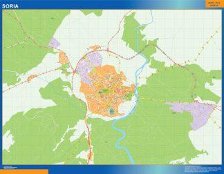 Mapa Soria callejero plastificado gigante