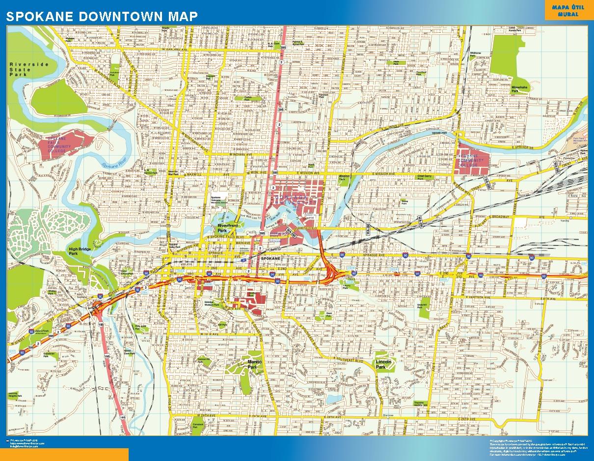 Mapa Spokane downtown plastificado gigante