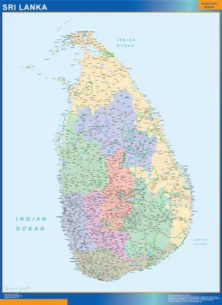 Mapa Sri Lanka plastificado gigante