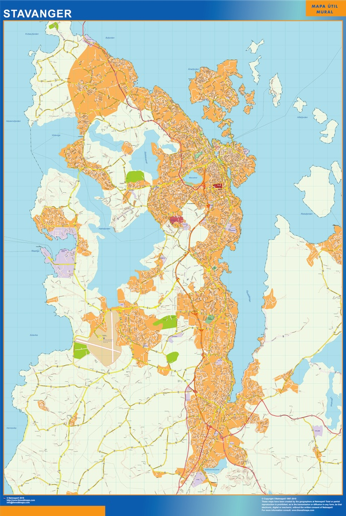 Mapa Stavanger en Noruega plastificado gigante