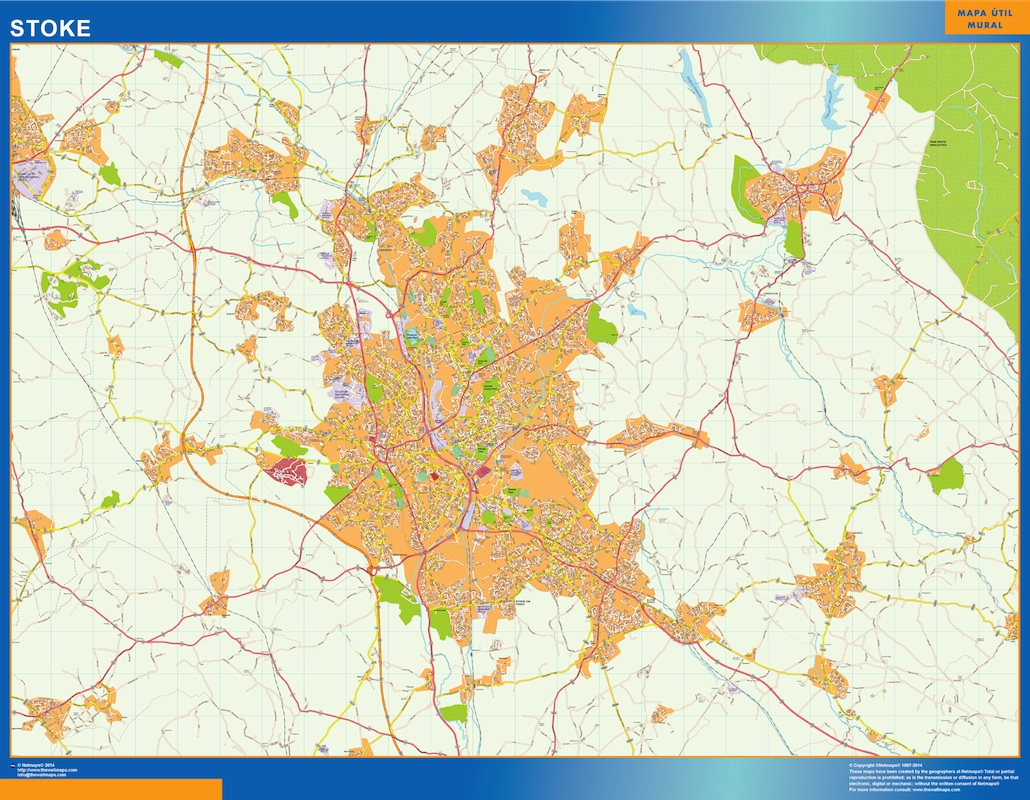 Mapa Stoke plastificado gigante