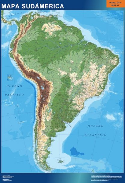 Mapa Sudamerica físico plastificado gigante