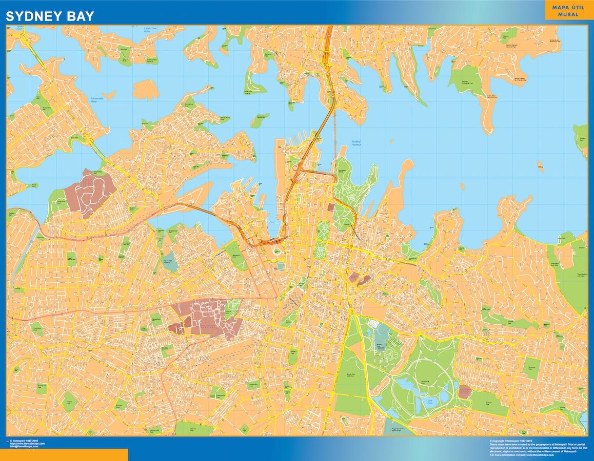 Mapa Sydney Bay Australia plastificado gigante