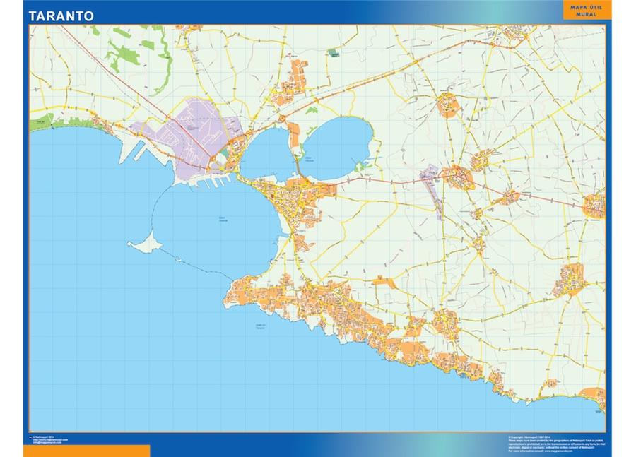 Mapa Taranto plastificado gigante