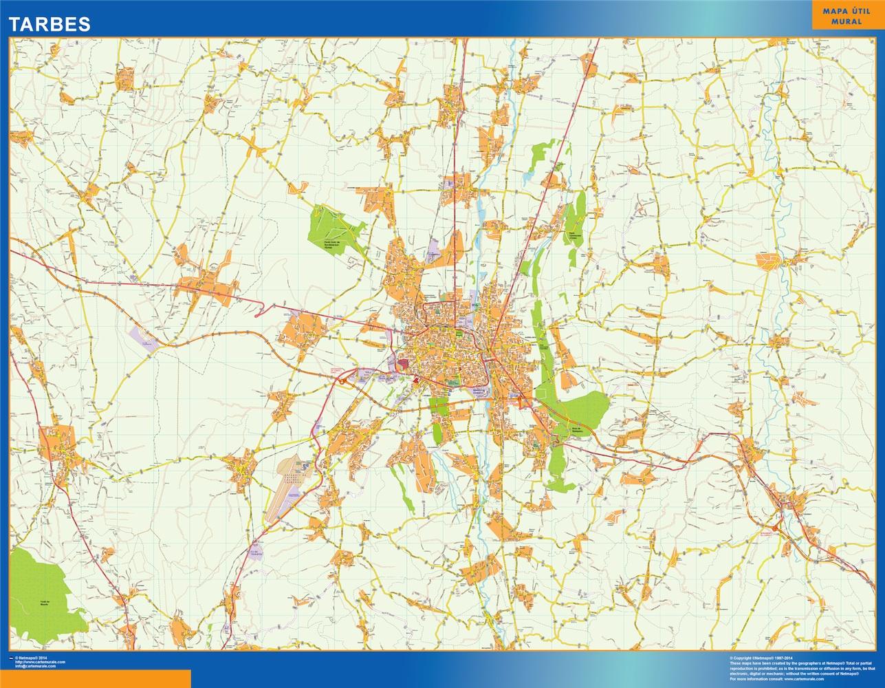 Mapa Tarbes en Francia plastificado gigante