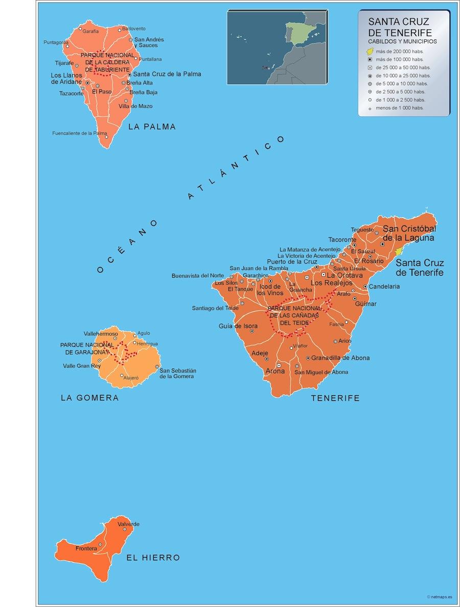Mapa Tenerife por municipios plastificado gigante