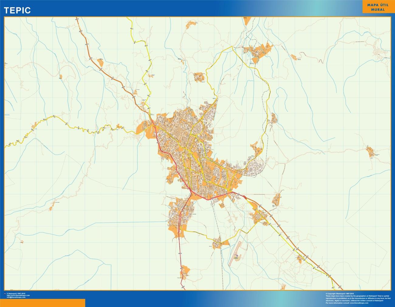 Mapa Tepic en Mexico plastificado gigante