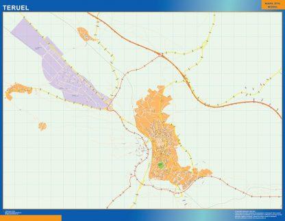 Mapa Teruel callejero plastificado gigante