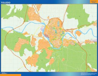 Mapa Toledo callejero plastificado gigante