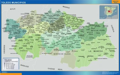Mapa Toledo por municipios plastificado gigante