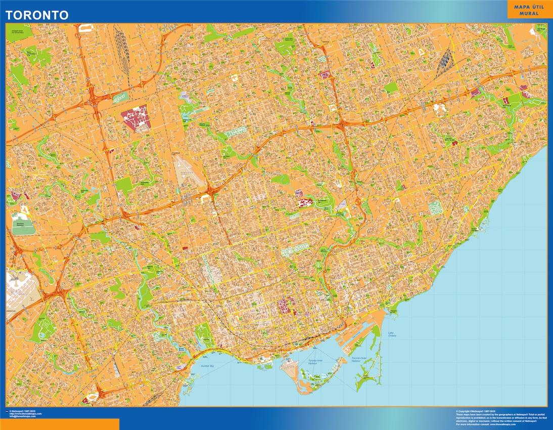 Mapa Toronto en Canada plastificado gigante