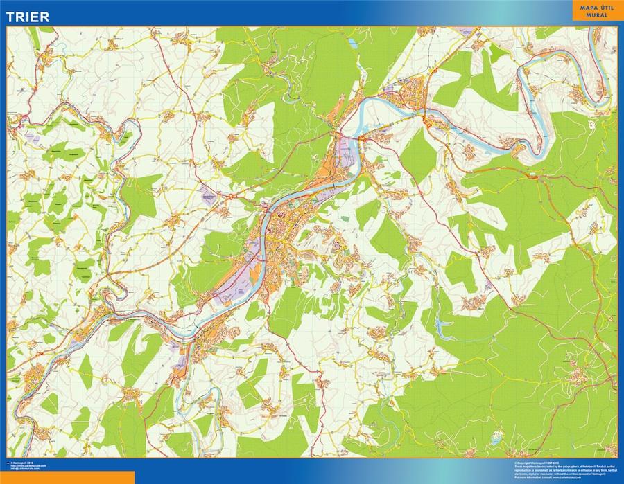 Mapa Trier en Alemania plastificado gigante