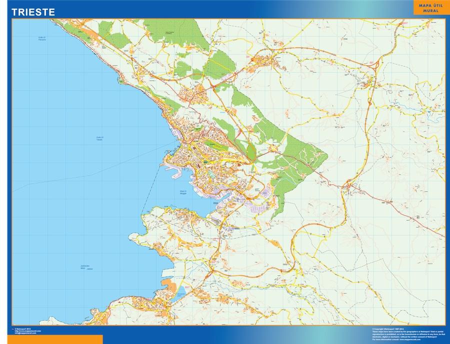 Mapa Trieste plastificado gigante